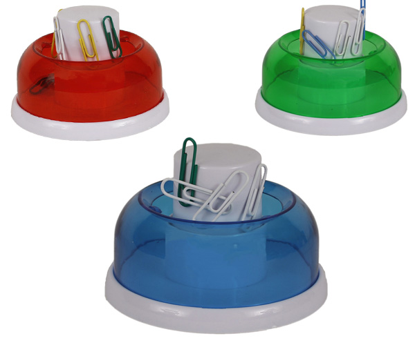 Porta Clips circular con dispenser, base anti deslisante. Medidas: 7,5 X 4...